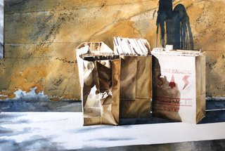 Doug Shoemaker Watercolors - Still lifes - Paper bags 1