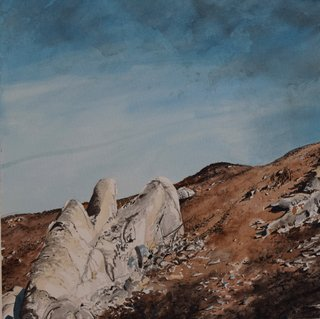 Doug Shoemaker Watercolors - Joshua Tree National Park Artist-in-Residence, Spring 2015 - Dark-Hill---White-Rock