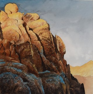 Doug Shoemaker Watercolors - Joshua Tree National Park Artist-in-Residence, Spring 2015 - Last-Light-Indian-Canyon