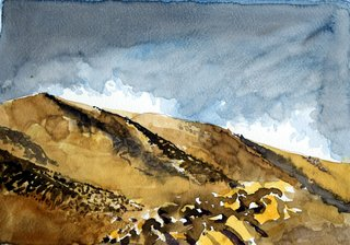 Doug Shoemaker Watercolors - Joshua Tree National Park Artist-in-Residence, Spring 2015 - Queen-Valley-Road