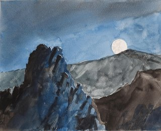 Doug Shoemaker Watercolors - Joshua Tree National Park Artist-in-Residence, Spring 2015 - Full-Moon-at-Lost-Horse-Canyon