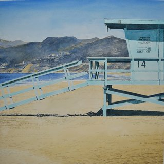 Doug Shoemaker Watercolors - New work: 2015-16 - Lifeguard-Station-14
