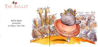 NEUBECKER BOOKS - Hattie Hippo by Christine Loomis - Hattie ballet spread weblrg
